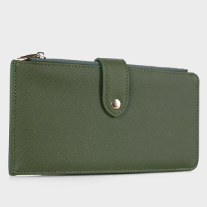 Isabelle WS1190 bifold vegan leather wallet olive