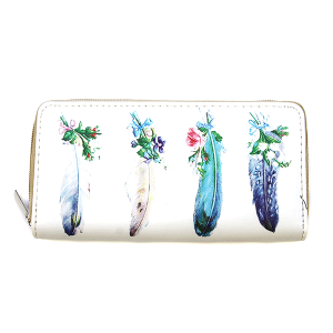 Bijorca WT326X048 zipper wallet floral feathers