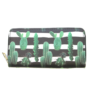 Bijorca WT377X020 zipper wallet stripe cactus black white