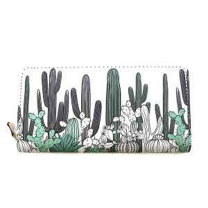 Bijorca WT377X160 zipper wallet cactus green white