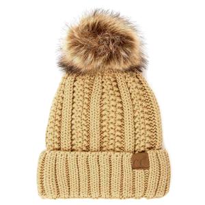 Winter CC Beanie 301a 82 cable knit faux fur pom camel