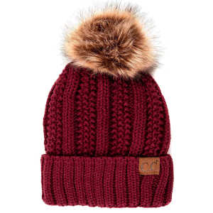 Winter CC Beanie 299a 82 cable knit faux fur pom maroon