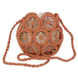 Handbag Republic YW-0012 straw wheel crossbody clay