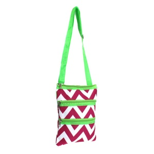 ak LT10 601 messenger bag chevron fuchsia white green LARGE