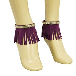 anklet 044g 40 crystal fringe gold purple