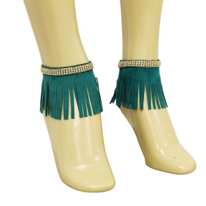 anklet 060d 40 crystal fringe gold green