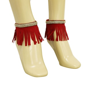 anklet 074b 40 crystal fringe gold red