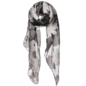 Scarf 044 Scarf Floral Oblong Gray