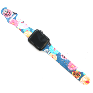 Watch Band 117a silicone rubber graphic watch band floral fans 38mm - 40mm