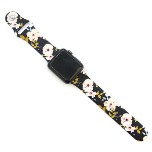 Watch Band 070c silicone rubber graphic watch band floral pink 38mm - 40mm