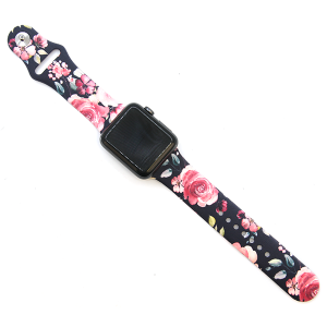 Watch Band 113a silicone rubber graphic watch band floral roses 38mm - 40mm