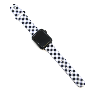 Watch Band 111 08 Rubber Silicone watch band 38mm 40mm plaid black