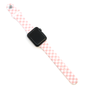 Watch Band 110 08 Rubber Silicone watch band 38mm 40mm plaid pink