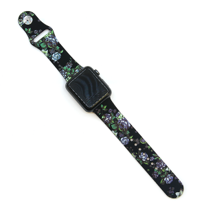 Watch Band 109 08 Rubber Silicone watch band 38mm 40mm black floral