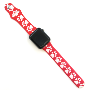 Watch Band 108 08 Rubber Silicone watch band 38mm 40mm dog paw red