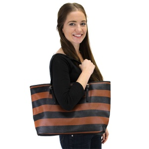 az q 3032a horizontal stripe handbag black brown