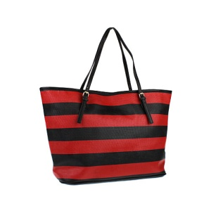 az q 3032a horizontal stripe handbag black red