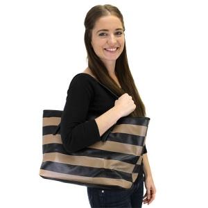 az q 3032a horizontal stripe handbag black taupe