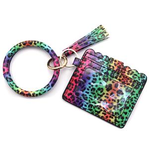 Keychain 016h 34 Wrist Wallet Keychain leopard multicolor