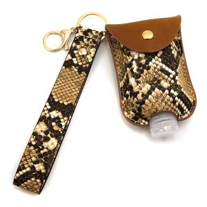 Hand Sanitizer Keychain 096 snake print wrist strap brown