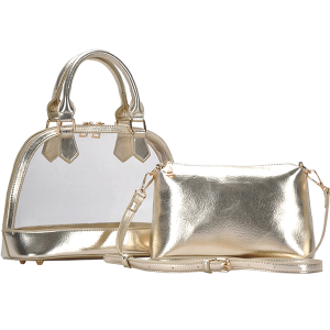 MMS BGS 5799 2in1 transparent dome satchel gold