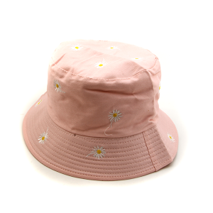Bucket Hat 032b Reversible Bucket Hat pink daisy embroidered