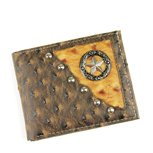 Western Bifold Wallet Leather Star Brown