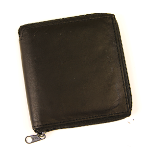 Simple Bifold Square Wallet Leather z55 Zipper Black