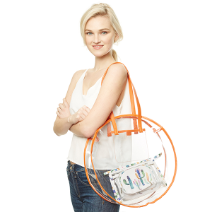Clear round tote - Orange