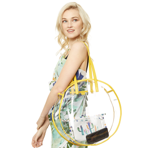 Clear round tote - Yellow