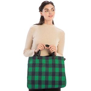 Handbag Tote plaid shoulder bag green
