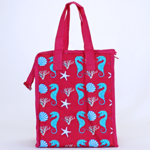 cc 18 32 lunch bag sea horse fuchsia turquoise