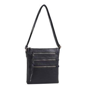 Deluxity HY 2039B zipper crossbody multi pocket black