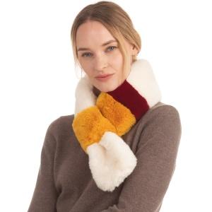 Scarf 209 08 Fadivo faux fur scarf ivory tri tone