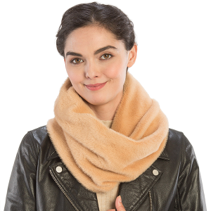 Scarf 466b 08 Fadivo solid faux fur infinity scarf camel