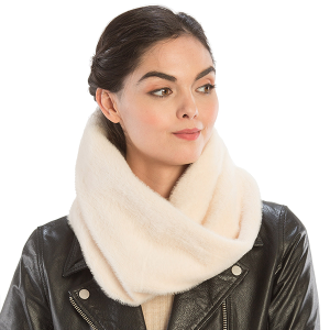 Scarf 528 08 Fadivo solid faux fur infinity scarf ivory