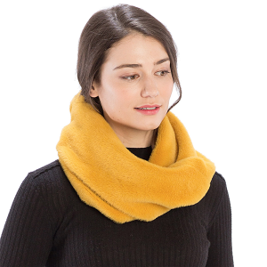 Scarf 527 08 Fadivo solid faux fur infinity scarf mustard