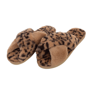 Winter Slipper CSL001 leopard print cross camel size 8 - 8.5