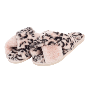 Winter Slipper CSL001 leopard print cross pink size 7 - 7.5