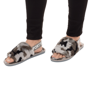 Winter Slipper CSL003 camo print strap gray size 7 - 7.5