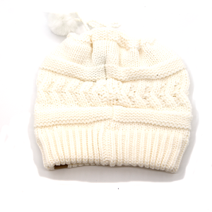 Winter Cap 148B 98 David and young White ponytail beanie with draw string