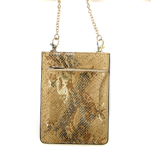 Metallic Snake Print Crossbody Bag - gold