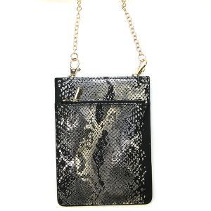 Metallic Snake Print Crossbody Bag - black