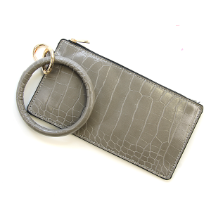 Wrist Bracelet Wallet leather croc print gray solid