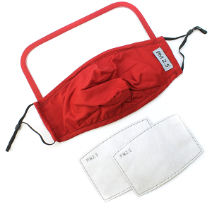 Face Mask 378 Shield Mask with 2 filters red