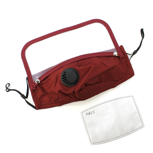 Face Mask 385 Vent Mask Detachable Shield with filter burgundy