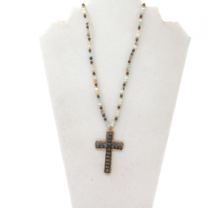 Necklace  071b 77 Pomina multi-colored bead necklace with a gray cross