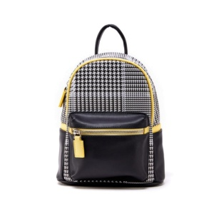 (H17122080-BLACK) Like Dreams USA-Houndstooth Print Mini Backpack In Black With Yellow Accent Trim.