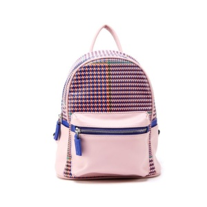 (H17122080-BLUSH)Like Dreams USA-Houndstooth Print Mini Backpack In Blush Pink With Blue Accent Faux Leather.