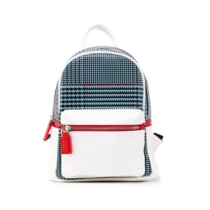 (H17122080-WHITE)Like Dreams USA-Houndstooth Print Mini Backpack In White With Red Accent Faux Leather.
